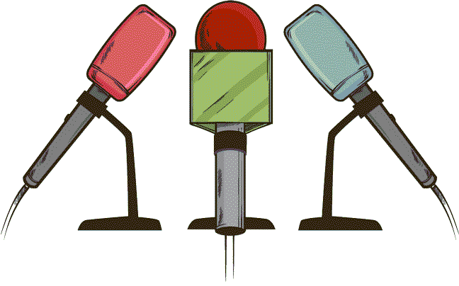 Cartoon illustration of three microphones at a press conference